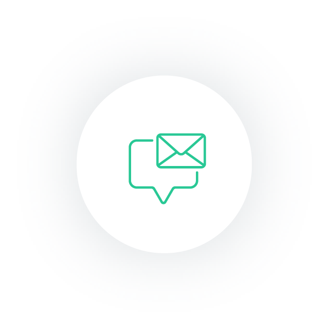 Speach bubble with email icon.